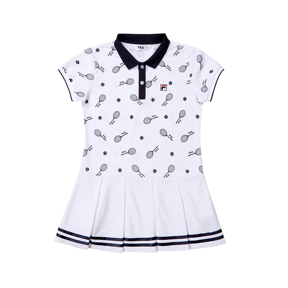 FILA KIDS 童吸濕排汗針織洋裝-白 5DRT-4440-WT