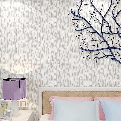 半島良品 防水PVC自黏裝飾牆紙45x200cm-銀灰條紋