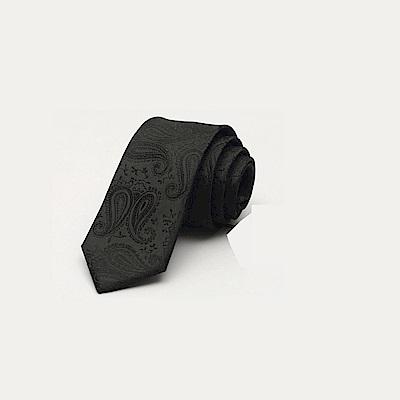 拉福 腰果紋6CM中窄版領帶拉鍊領帶(兒童黑色紋)