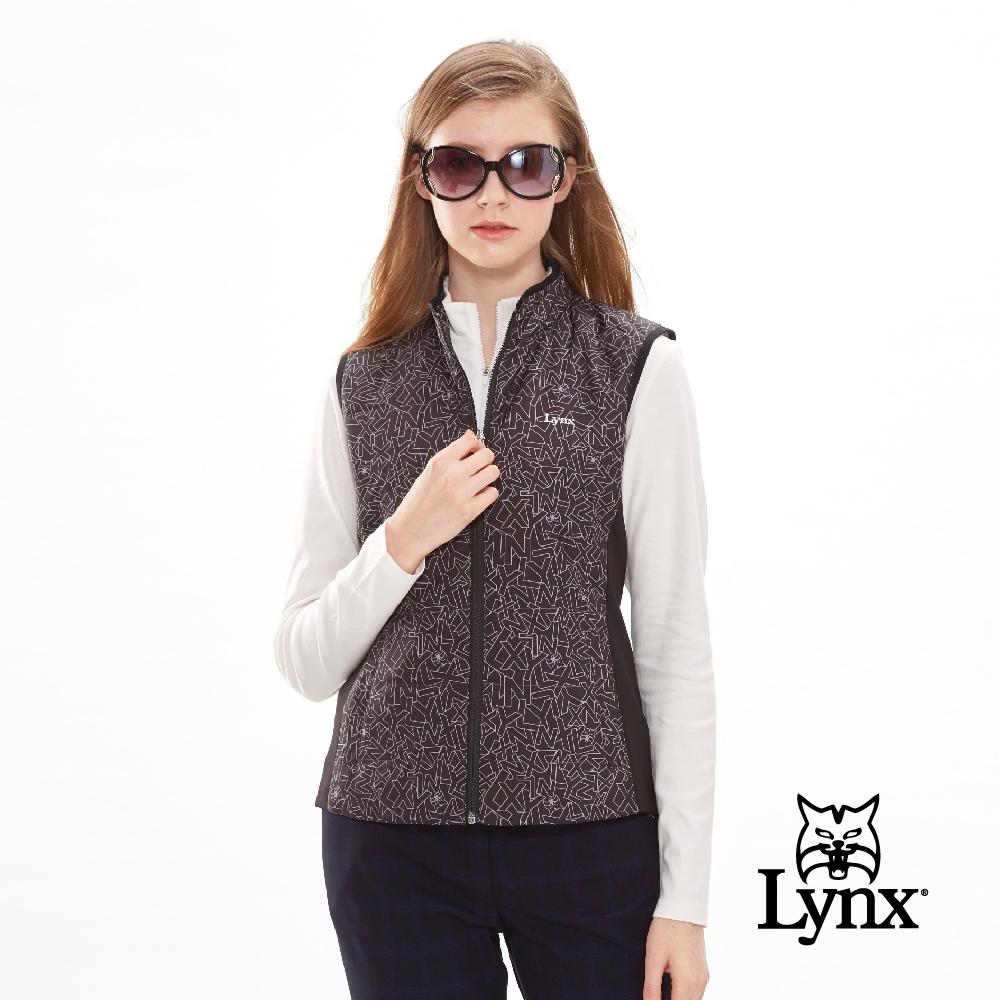 【Lynx Golf】女款防潑水滿版Lynx字體無袖鋪棉背心-黑色