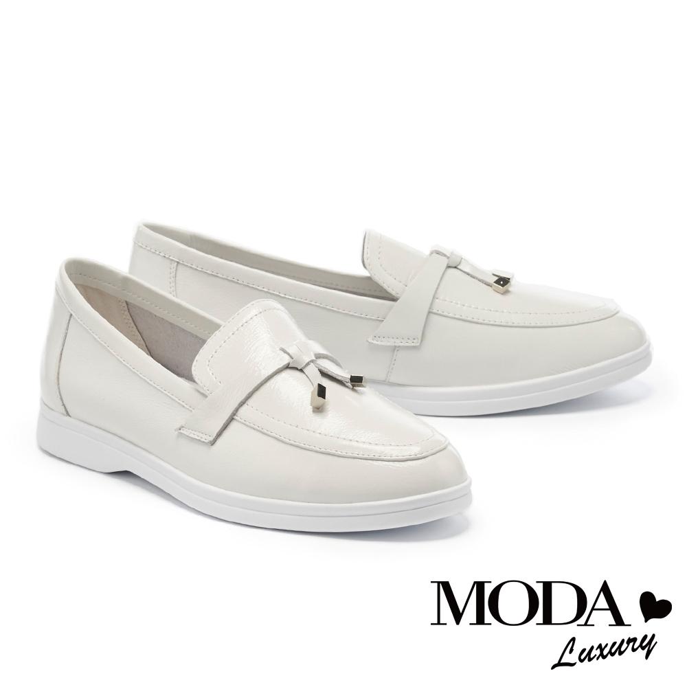 低跟鞋 MODA Luxury 率性簡約經典素色全真皮樂福厚底鞋-白