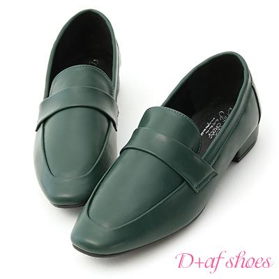 D+AF 質感印象.簡約方頭低跟樂福鞋*綠