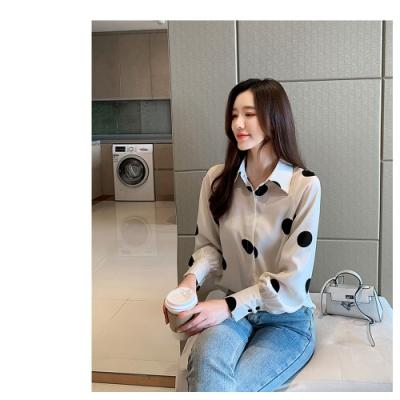2F韓衣-韓系點點造型雪紡衫-杏L