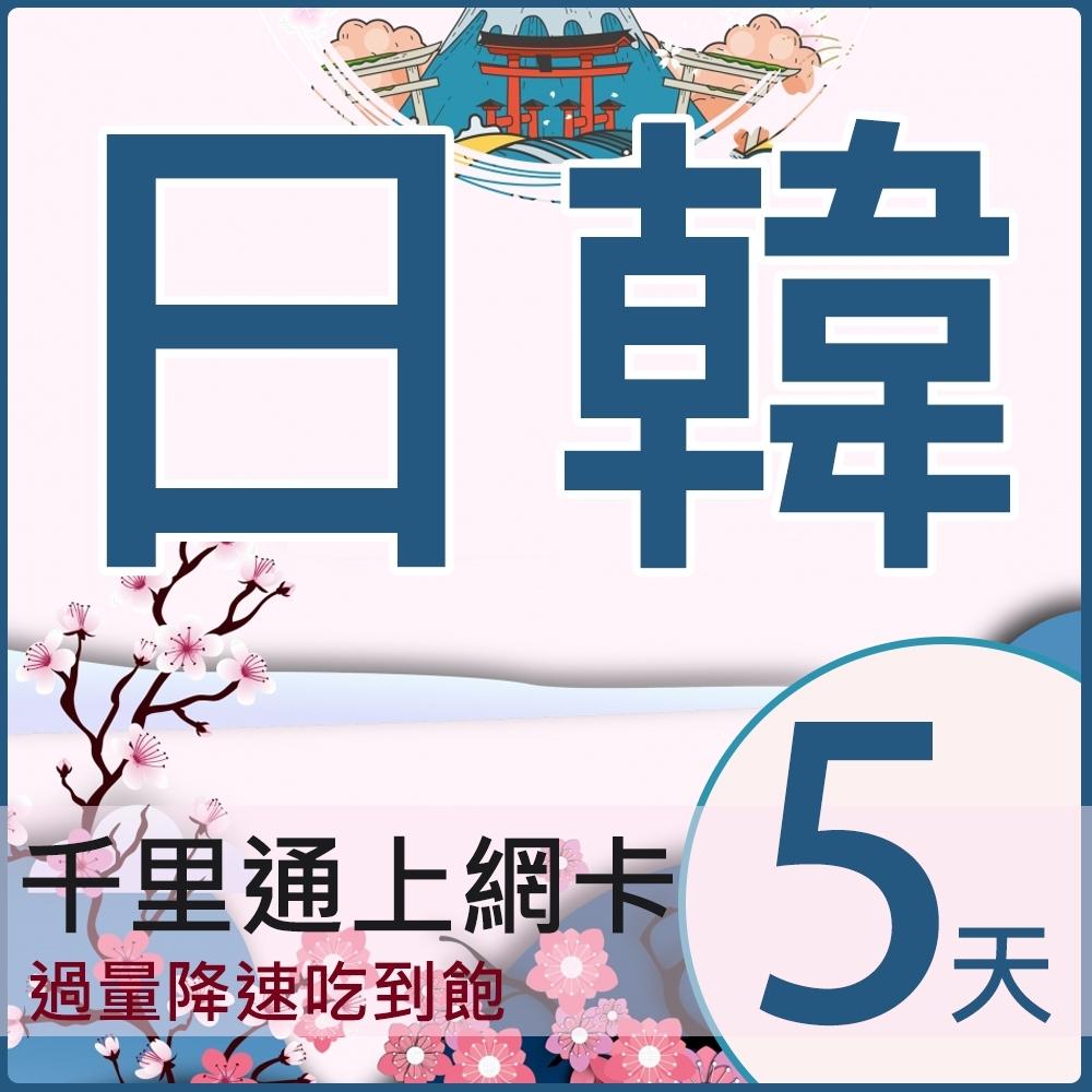 (時時樂)日本上網卡 韓國上網卡 5日無限上網吃到飽 上網卡