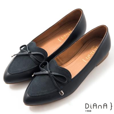 DIANA 1.5 cm質感牛皮心形鞋口蝴蝶結低跟樂福鞋–漫步雲端焦糖美人–深藍
