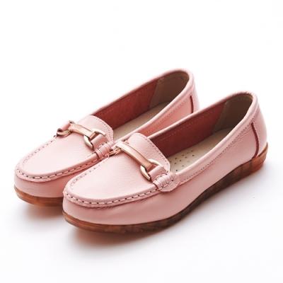 A one  牛皮莫卡辛琺瑯釉彩馬銜扣鍊休閒鞋-粉色