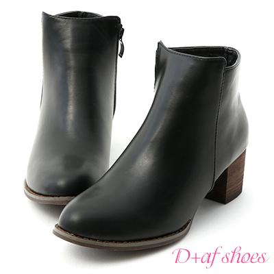D+AF 人氣話題.素面剪裁中跟短靴*黑