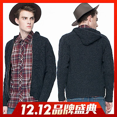 雙十二限定-BRAPPERS-男款-銀拉鍊連帽毛衣