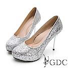 GDC-閃爍迷人滿版亮粉炫魅高跟鞋-銀色