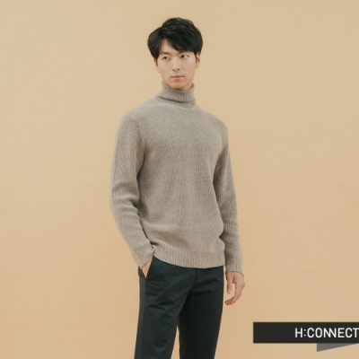 H:CONNECT 韓國品牌 男裝 - 純色高領羊毛上衣 - 卡其