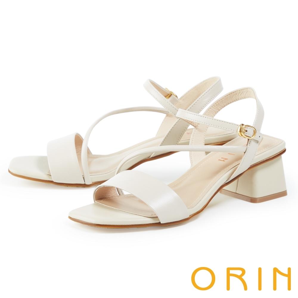 ORIN 羊皮斜邊造型中粗跟 女 涼鞋 白色