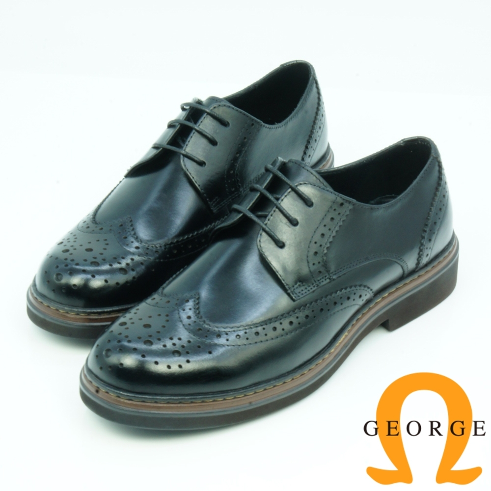 GEORGE喬治皮鞋 學院風漸層翼紋雕花綁帶牛津鞋-黑色