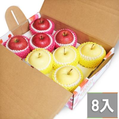 【鮮果日誌】金紅招財蘋果禮盒(金星4入+蜜蘋果4入)