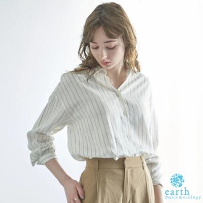 earth music 亞麻混紡2WAY長袖襯衫