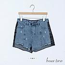 beartwo 拼色小刷破不收邊牛仔短褲(藍)