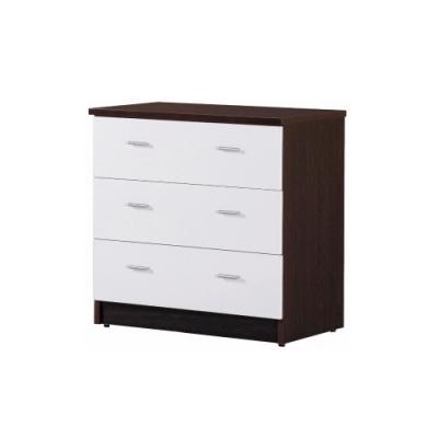韓菲-白屜胡桃色三屜塑鋼衣櫃-81.5x48x81.5cm