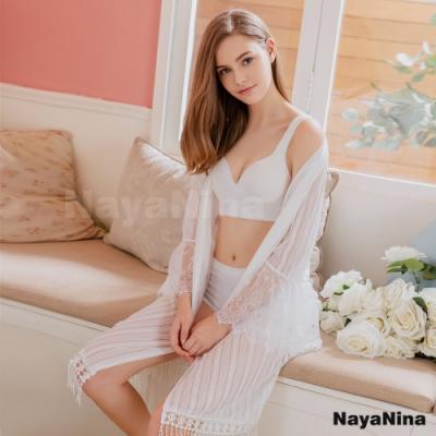 Naya Nina 雪白花緹條紋蕾絲雕花長版罩衫外套睡袍-白F