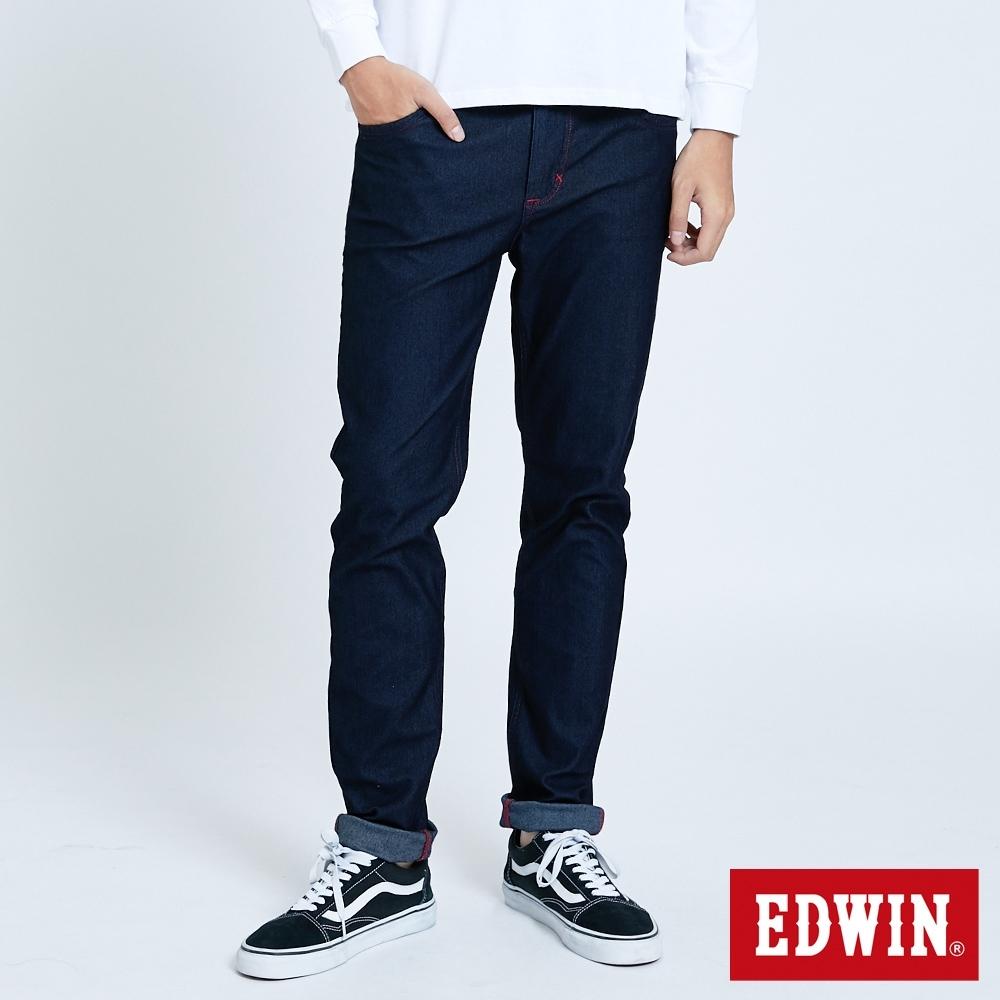 EDWIN JERSEYS 大尺碼 迦績 EJ2 超彈低腰窄管牛仔褲-男-原藍色