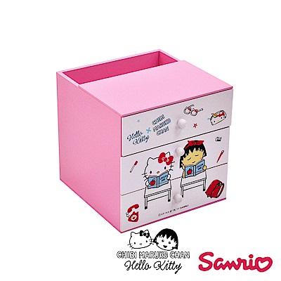 CY本舖 Hello Kitty x 小丸子 聯名款 桌上三抽筆筒盒 收納盒 置物盒 桌上收納