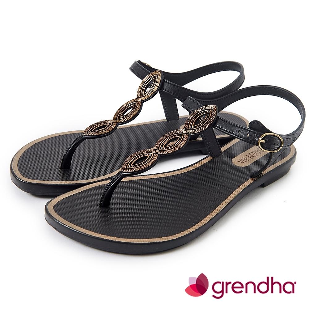 Grendha 典雅歐洲風平底涼鞋-黑色