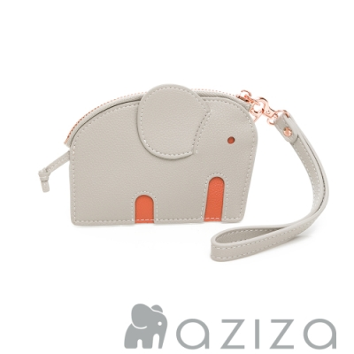 aziza小象造型鑰匙零錢包 小象灰