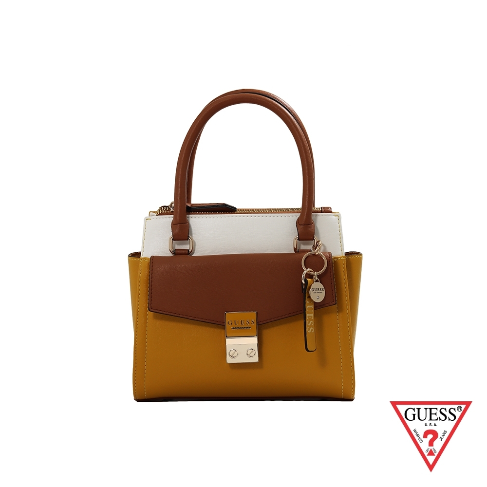 GUESS-女包-撞色簡約多層式手提肩背包-黃 原價2890