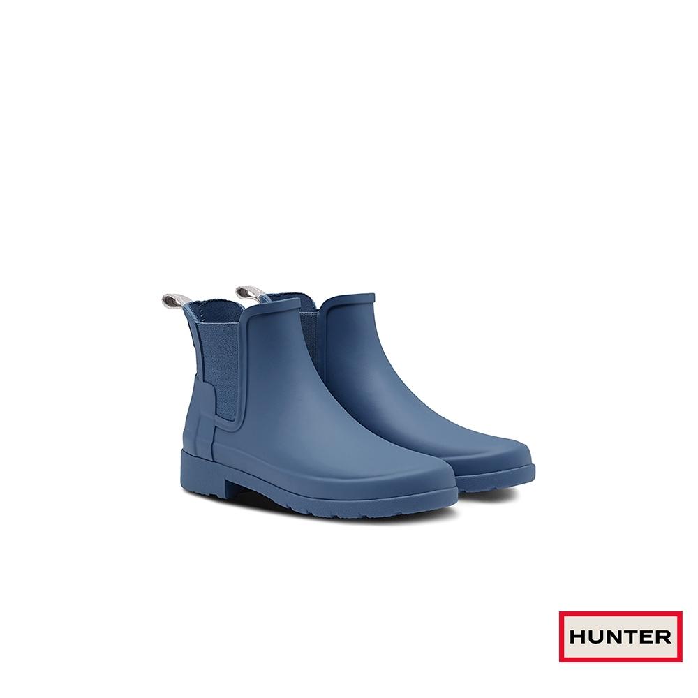 HUNTER - 女鞋-Refined切爾西霧面踝靴 - 灰藍