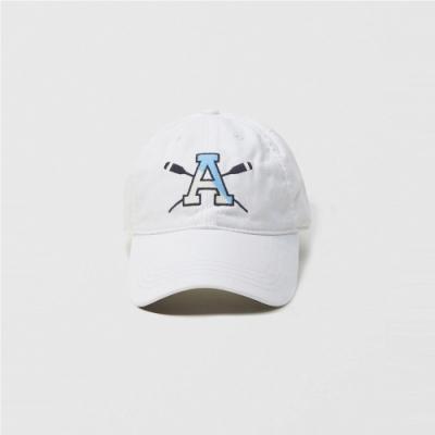 A&F 經典電繡圖案復古鴨舌老帽-白色 AF Abercrombie