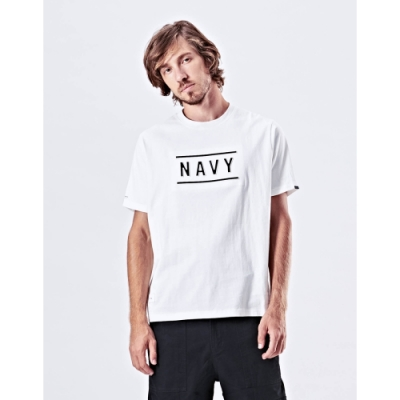 NAVY-鋼印品牌字短T-情侶款(兩色)-男【UNA007】