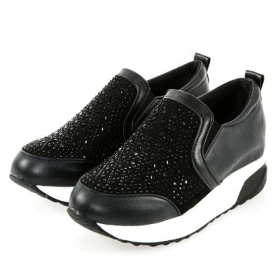 JMS-舒適點點晶鑽輕量厚底內增高休閒鞋-黑色