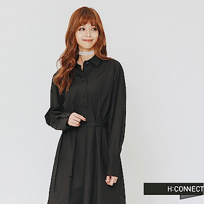 H:CONNECT 韓國品牌 女裝-微甜綁帶襯衫洋裝-黑