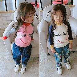 小衣衫童裝    中小童可愛卡通微笑插肩拼色長袖針織衫1071022
