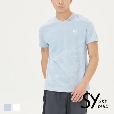 【SKY YARD 天空花園】幾何爆裂壓紋吸濕排汗運動T恤-淺藍