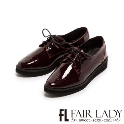 Fair Lady沖孔雕花漆皮綁帶厚底牛津鞋 酒紅