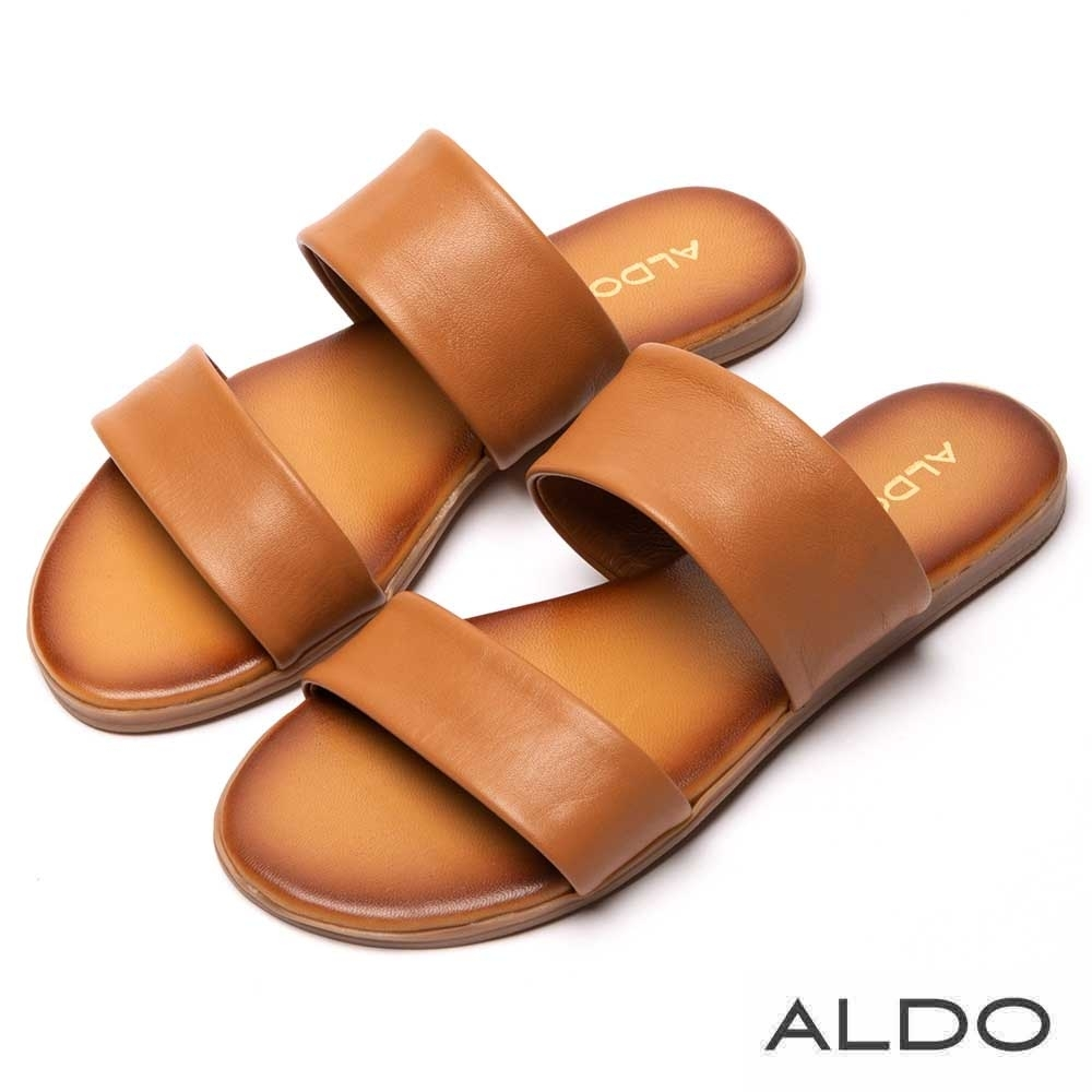 ALDO 原色真皮寬版鏤空鞋面木紋跟涼拖鞋~都會焦糖