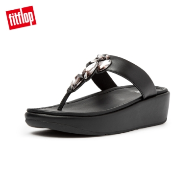 FitFlop FINO SLEEK OMBER STONES TOE POST SANDALS 柔軟皮革夾腳涼鞋-女(靚黑色)
