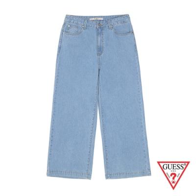 GUESS-女裝-簡約素面牛仔寬褲-藍