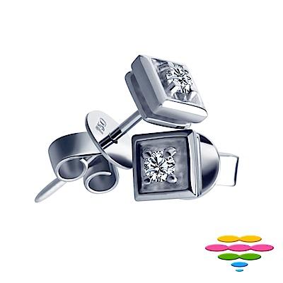 彩糖鑽工坊 14K 9分鑽石耳環 Square系列