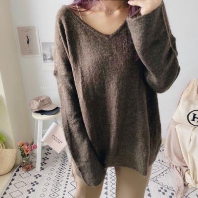 DoMiss慵懶細絨毛V領寬鬆毛衣(4色)