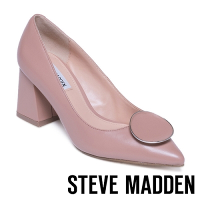 STEVE MADDEN-BERNIE 優雅百搭 造型圓釦尖頭粗跟高跟鞋-藕粉色