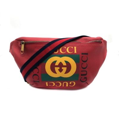 GUCCI  復古綠紅綠織帶Print胸口包/腰包/斜背包-80cm(530412-紅)