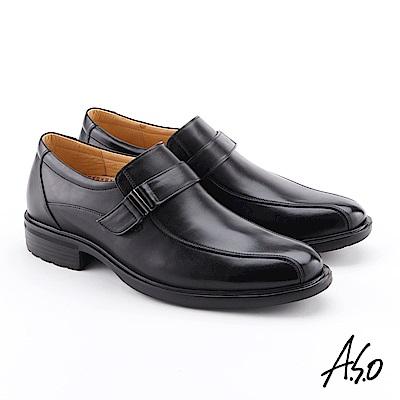 A.S.O 零壓挺力 牛皮扣帶奈米紳士鞋 黑