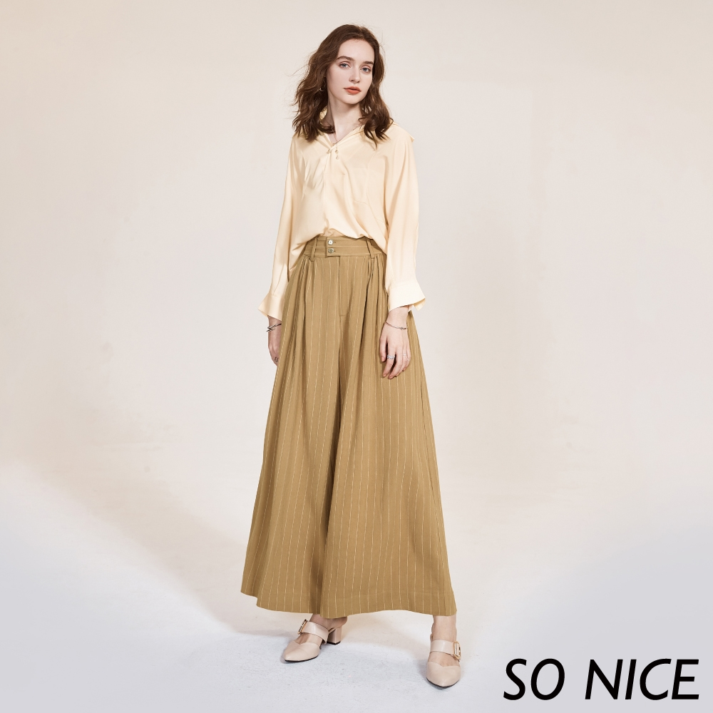 SO NICE優雅條紋亞麻混紡寬褲
