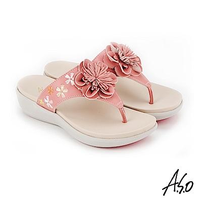 A.S.O 希臘渡假 全真皮俏麗圖騰花朵休閒涼拖鞋 粉紅
