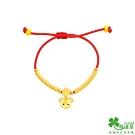 幸運草金飾 常樂鼠黃金彌月中國繩手環