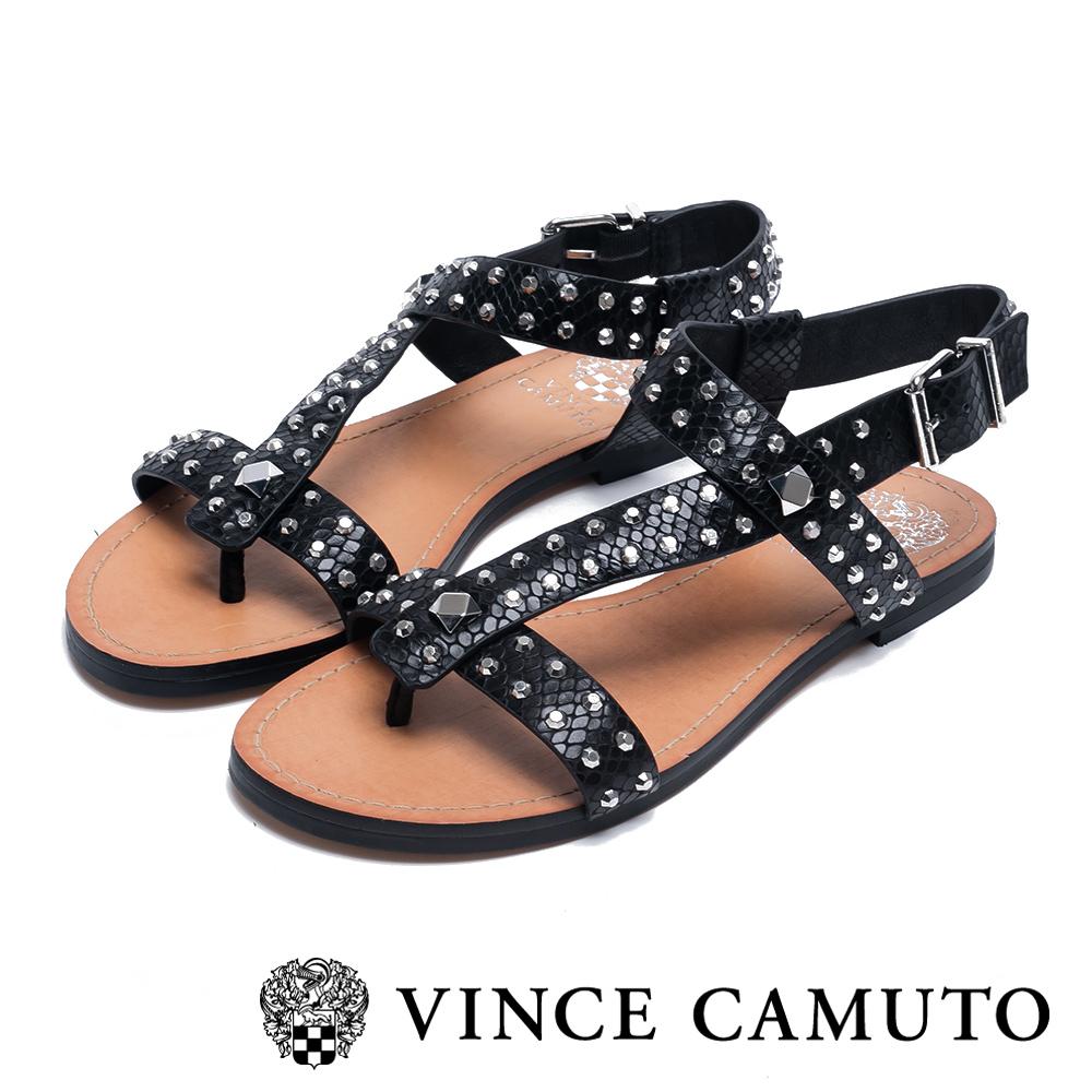 VINCE CAMUTO 個性鉚釘繫帶平底涼鞋-黑色