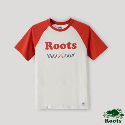 Roots男裝-湖畔小木屋系列 LOGO短袖T恤-白色