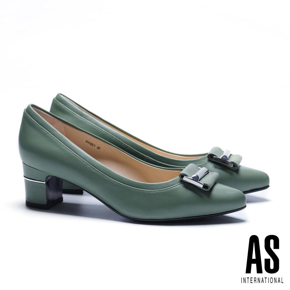 高跟鞋 AS 時尚金屬皮帶釦飾羊皮尖頭高跟鞋-綠