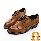 【GEORGE 喬治皮鞋】女紳綁帶雕花牛津中跟鞋-棕色