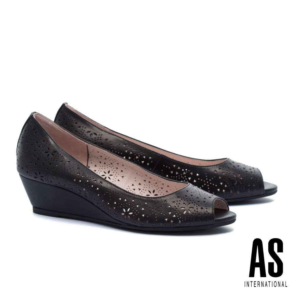 高跟鞋 AS 細緻優雅沖孔羊皮魚口楔型高跟鞋-黑